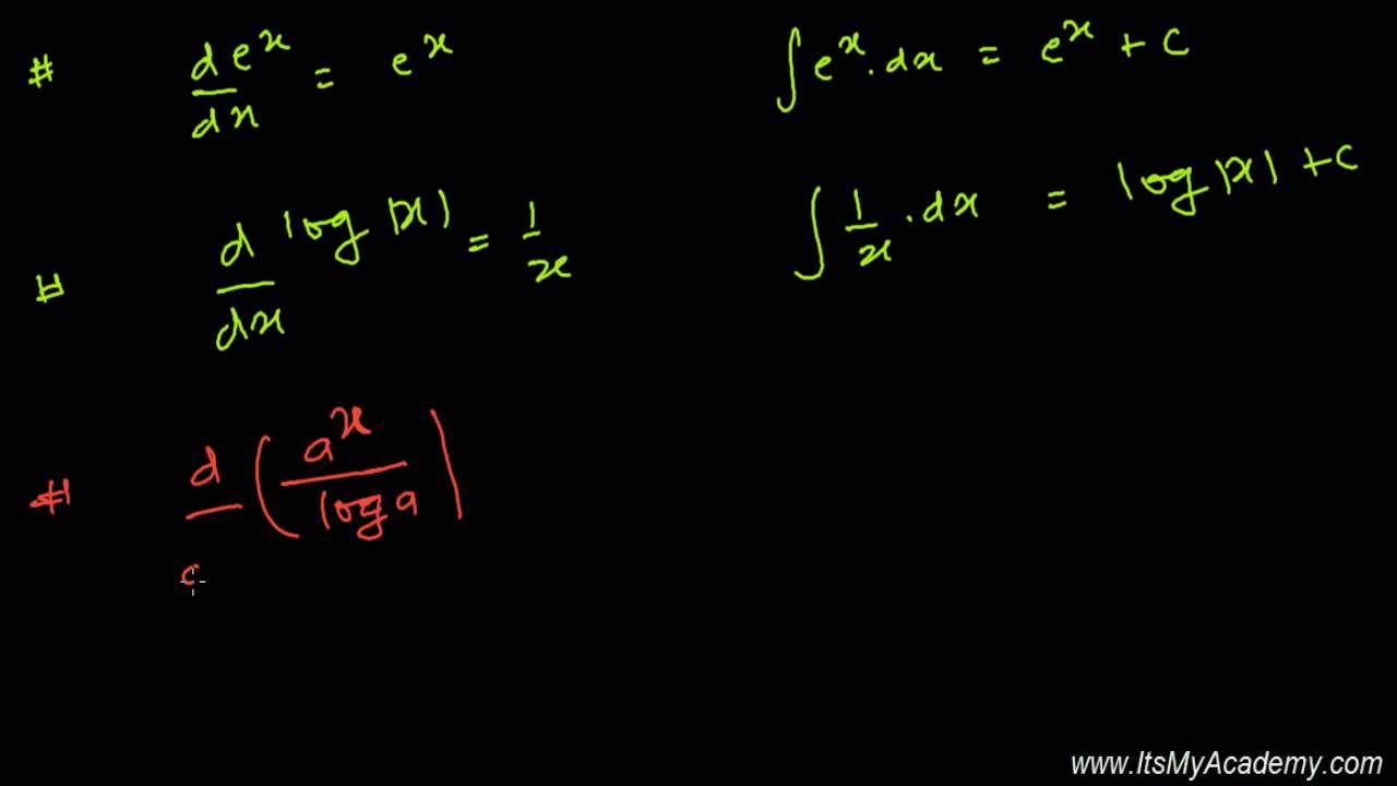 Integration Formula For Exponential And Logarithmic