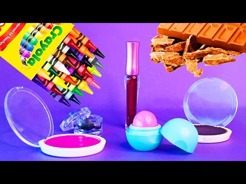 Thumbnail: 5 DIY Makeup Projects You Need To Know! Simple DIY Lipstick using Supplies like EOS, Crayons! !
