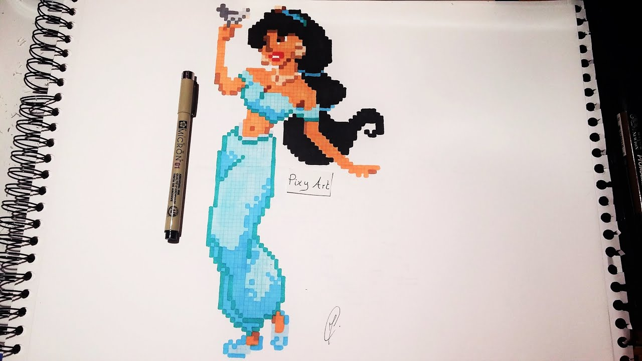 Disney Princess Drawing Jasmine Pixel Art Youtube