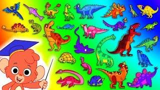 Dinozor ABC | çocuk | t-rex t için 26 KARİKATÜR DİNOZORLAR-rex | Club Baboo ile Alfabesini Öğrenmek