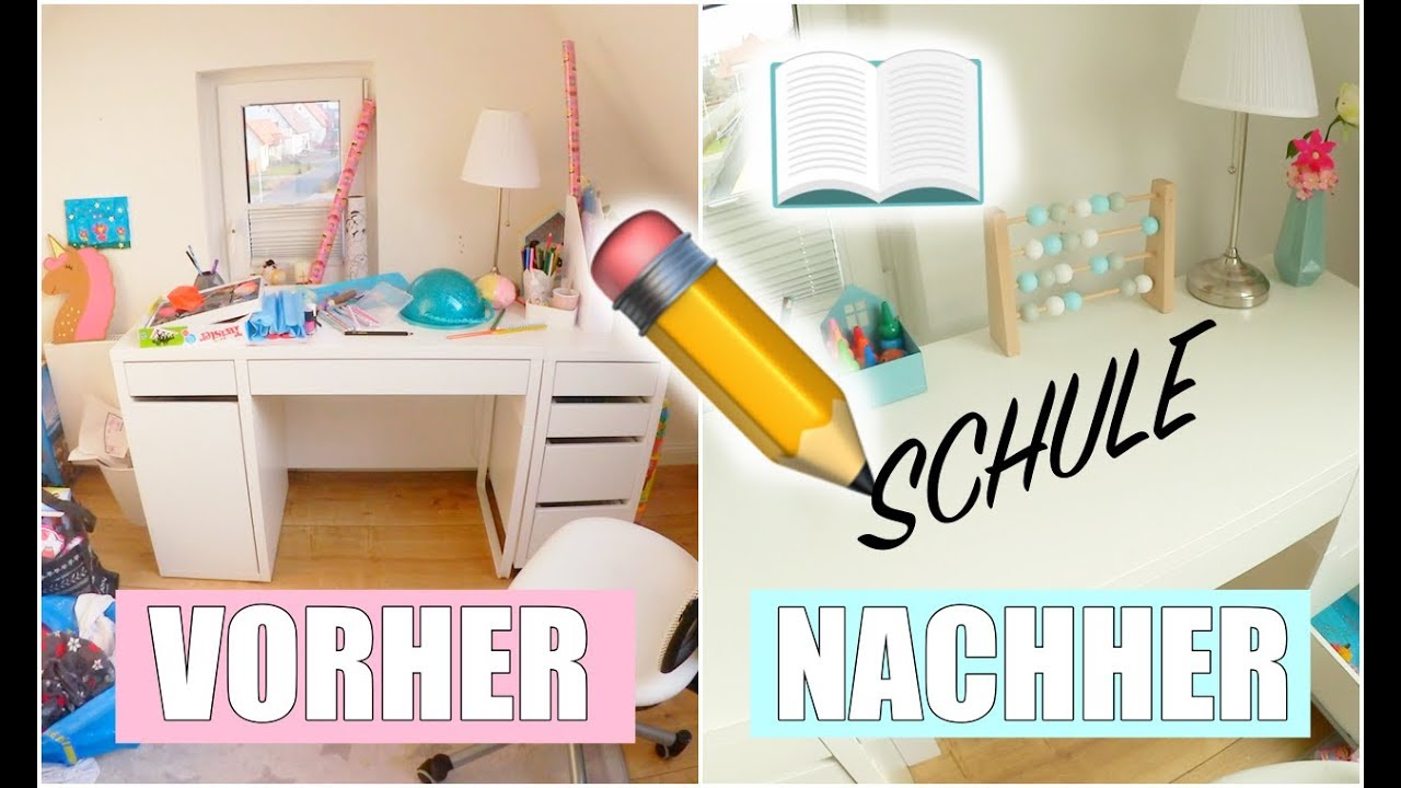 schreibtisch f r die schule organisieren kinderzimmer aufr umen isabeau youtube. Black Bedroom Furniture Sets. Home Design Ideas