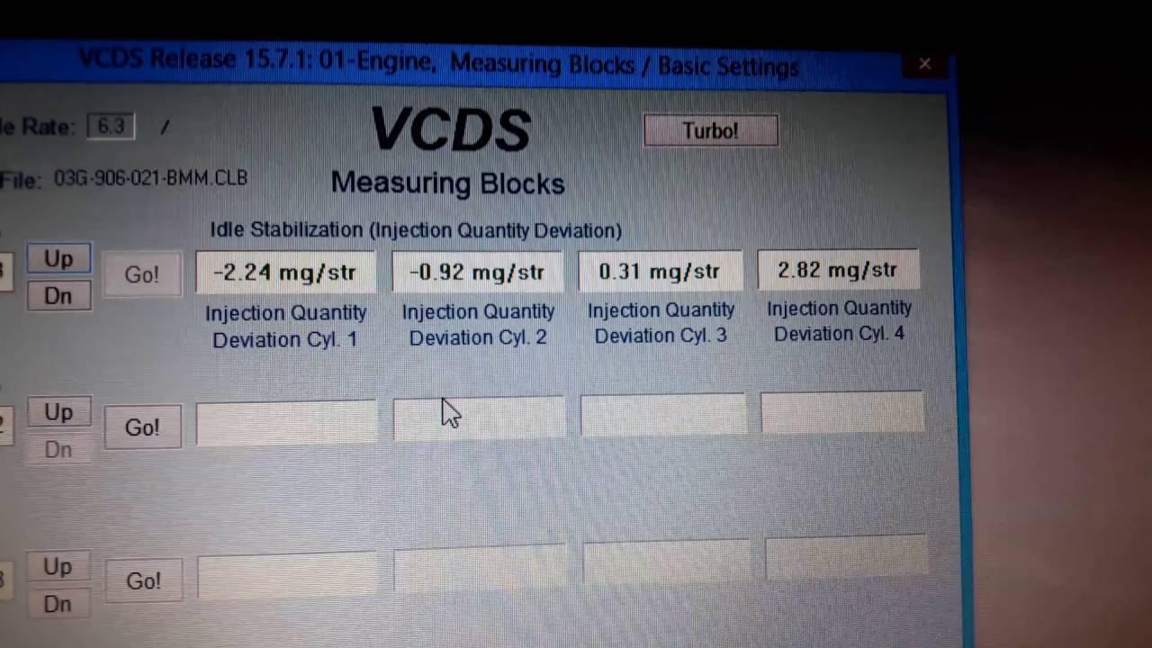 Passat B6 2 0TDI 140hp/103kw BMP injector problem (VCDS)