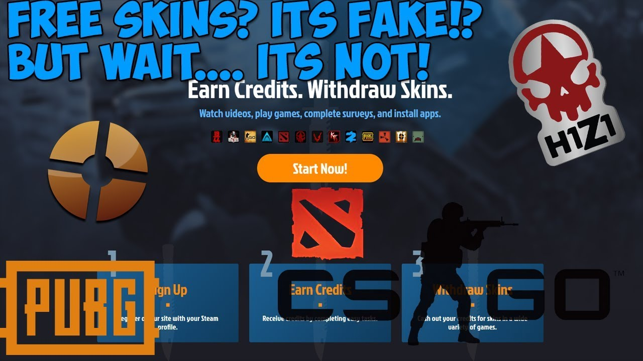 Get Free Skins For Csgo,Rust,Dota2,TF2,H1Z1,and many more!