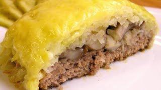 Котлета Сугроб / Dish Snowdrift (Potato and cheese topped ground meat) ♡ English subtitles