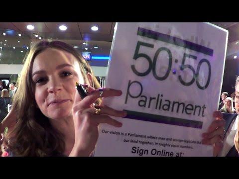 CAREY MULLIGAN signs #5050Parliament T-shirt 4 Women's Rights @ 'Suffragette' premiere, London