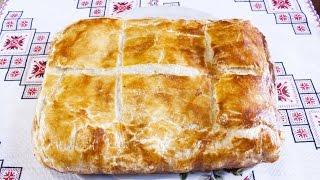 Пирог со шпинатом и творогом фета Выпечка из слоеного теста Блюда из шпината Пиріг зі шпинатом