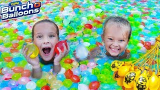 SWIMMING POOL FILLED WITH WATER BALLOONS! 🎈 Sisters Back To School Surprise!
