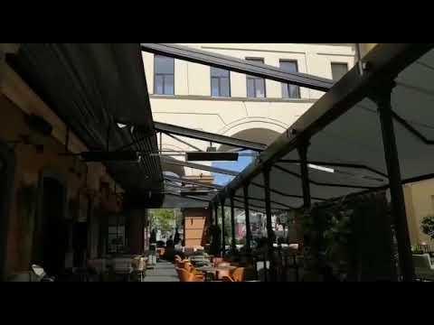 Раздвижная крыша для веранды ресторана La Fabbrica #раздвижнаякрыша #верандадляресторана