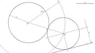 Circunferencia de radio conocido tangente a una recta y a otra circunferencia dadas
