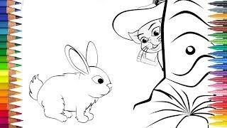 KUCING DALAM SEPATU BOT dengan kelinci itu Menggambar dan mewarnai