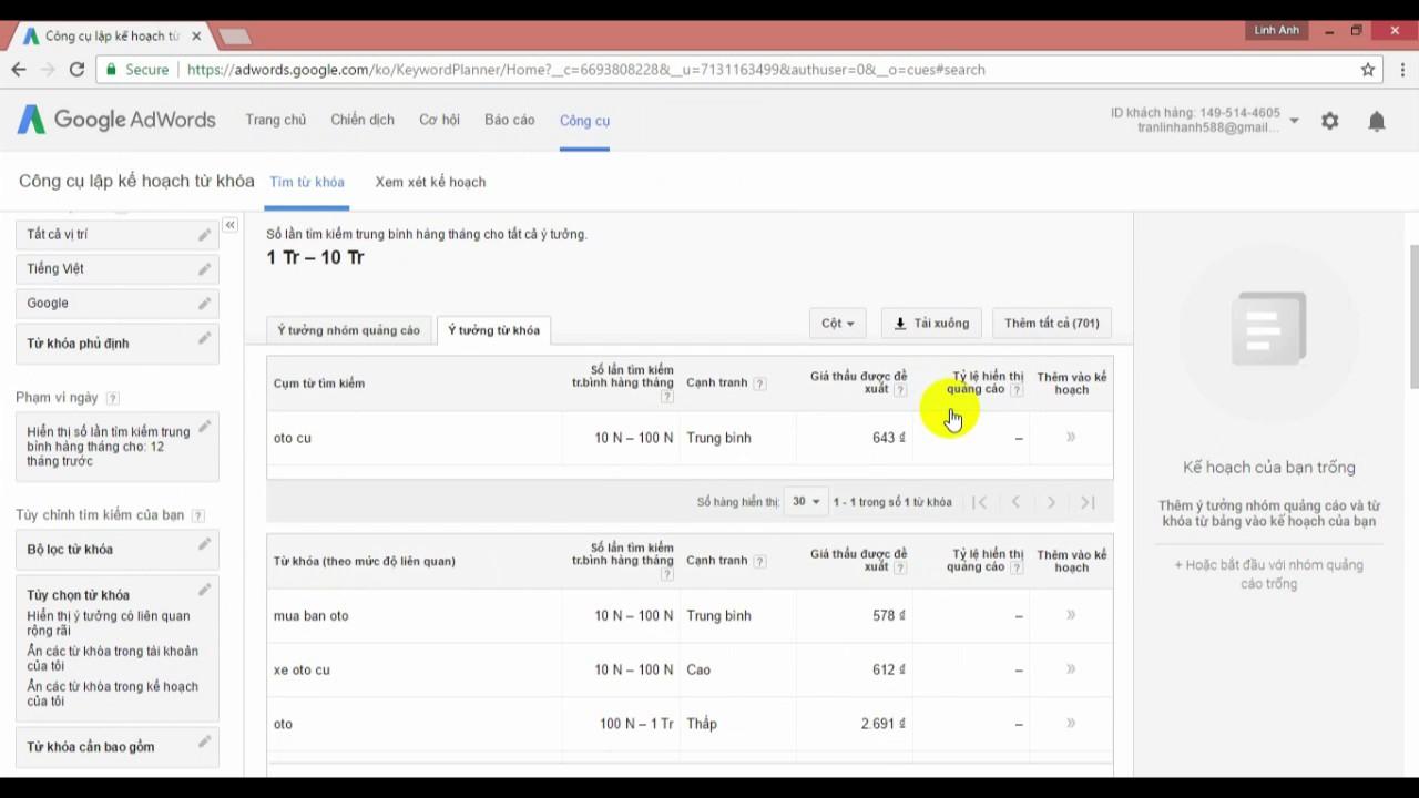 Hướng dẫn cách check từ khóa được tìm kiếm nhiều trên google.com