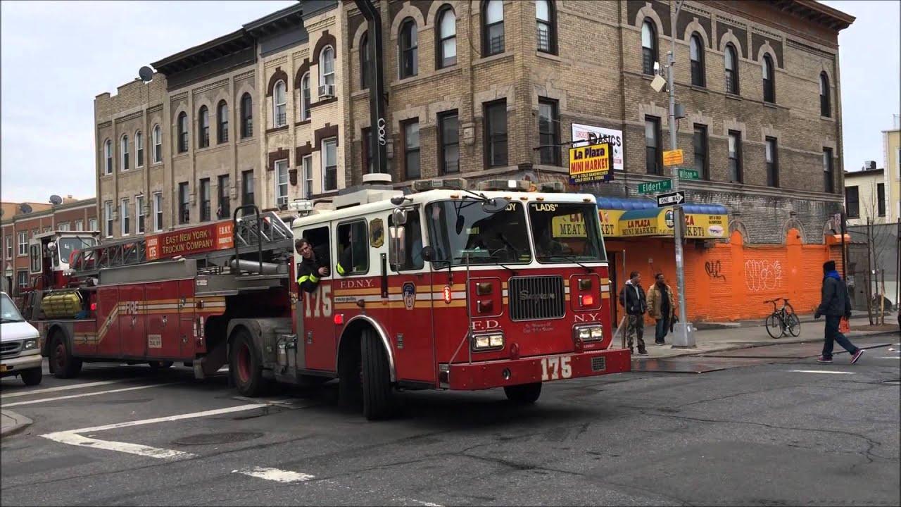 Fdny Ladder 175 Taking Up From A 3 Alarm Fire On Eldert St