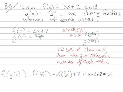how to find if two functions are inverses