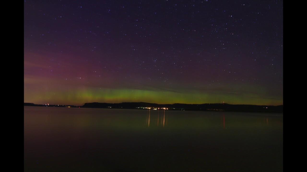 earth day aurora borealis over lake pepin lake city minnesota