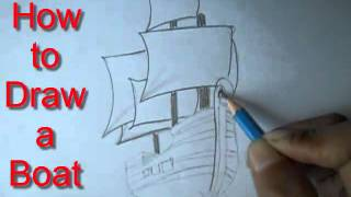 How to Draw a Boat (Easy Way Drawing)