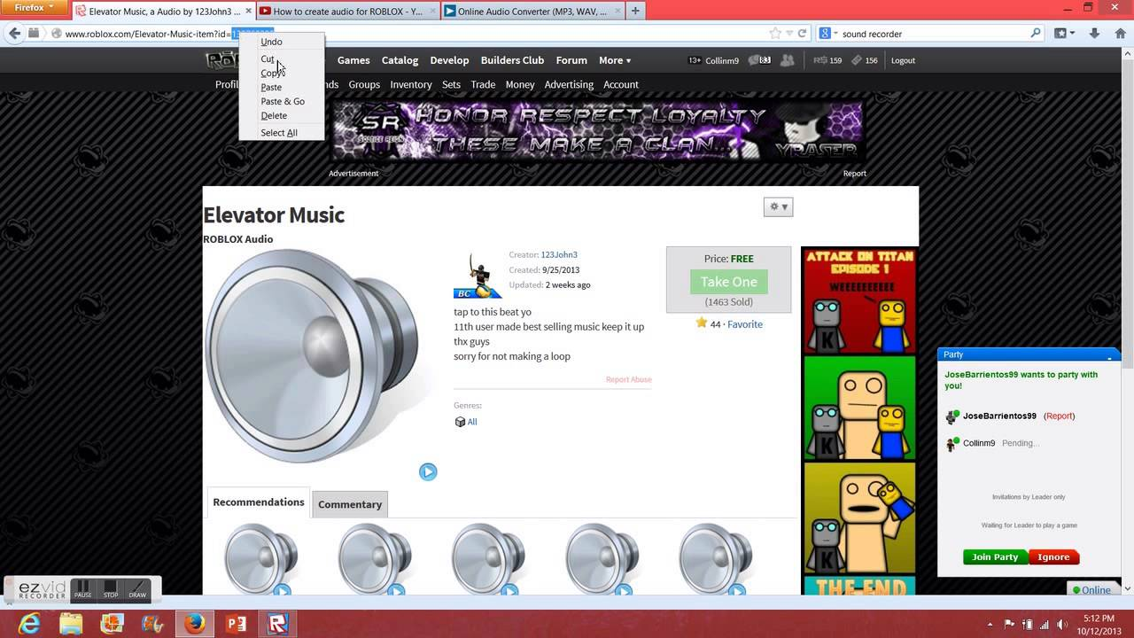 Audio id for roblox