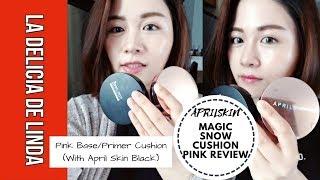 april skin magic snow cushion pink review   with april skin black cushion foundation