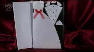 Раскладывающееся приглашение в виде платья невесты и пиджака жениха А5386