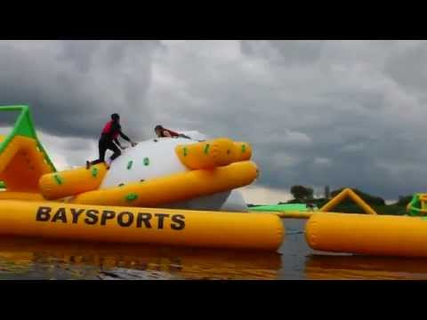 Baysports waterpark at Hodson Bay in Athlone - Biggest floating water park in Ireland