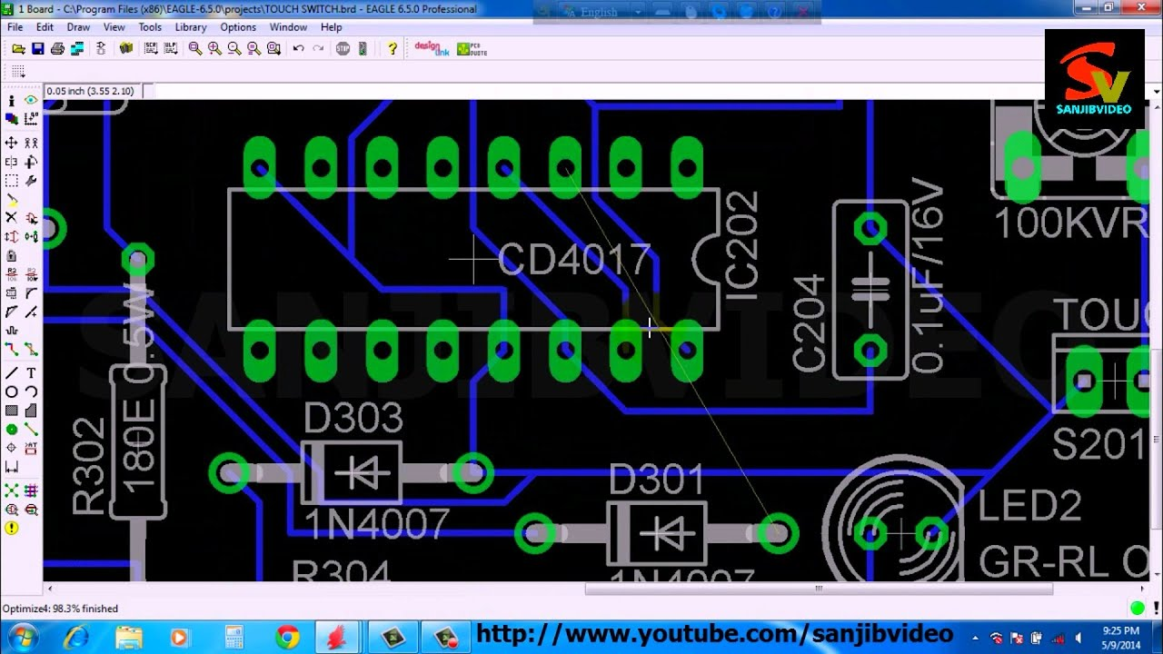 EAGLE # 9 of 12 : PCB LAYOUT ( Fix Ratsnest with Jumper ) : How to design circuit :  YouTube