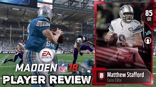 85 OVR Core Elite Matthew Stafford | Player Review |  Madden NFL 18 Ultimate Team Gameplay | MUT 18