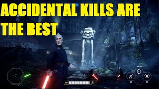 Star Wars Battlefront 2 - Kept ACCIDENTALLY pushing ppl off the map XD (2 games, Dooku/Luke)