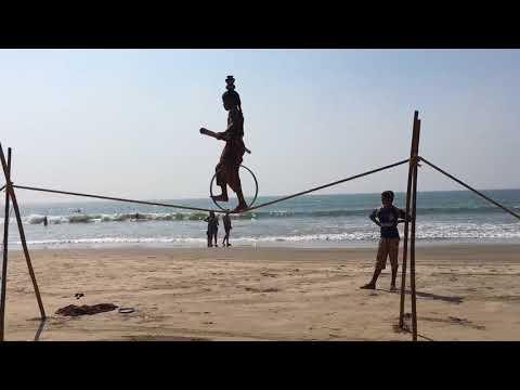 Tight rope walking India Goa ashvem beach S2 beach shack circus tricks