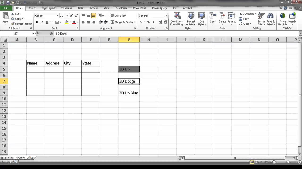Create a 20D Effect in a Cell