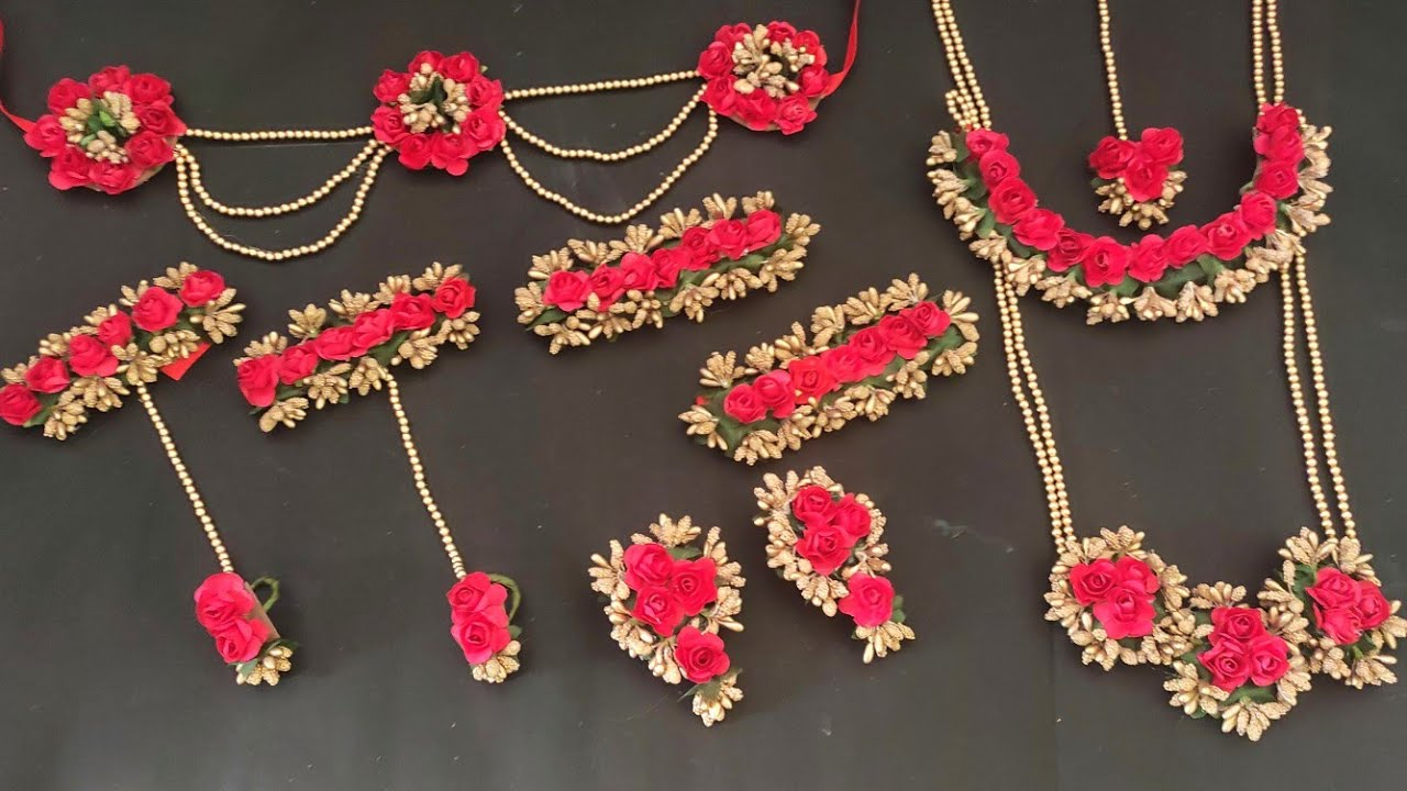 Flower Jewellery Making At Home Flower Jewellery For Haldi Flower Jewellery For Baby Shower Youtube