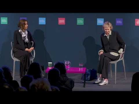 Siri Hustvedt with Elif Shafak at the Edinburgh International Book Festival