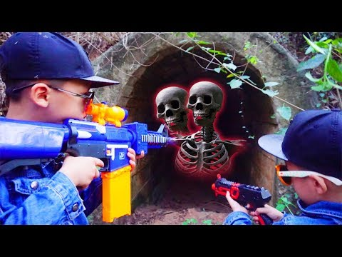 Neft Gun Kids vs Skeleton in The Forest! Fun Movie Nerf War