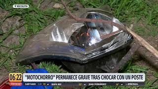 """""""Motochorro"""" permanece grave tras chocar contra un poste en Recoleta"""