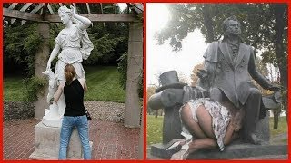 Peoples Who Definitely Know How To Pose With Statues - Funny and Creative
