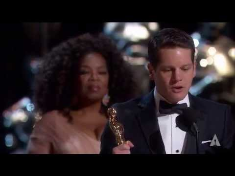 "Graham Moore winning Best Adapted Screenplay for ""The Imitation Game"""