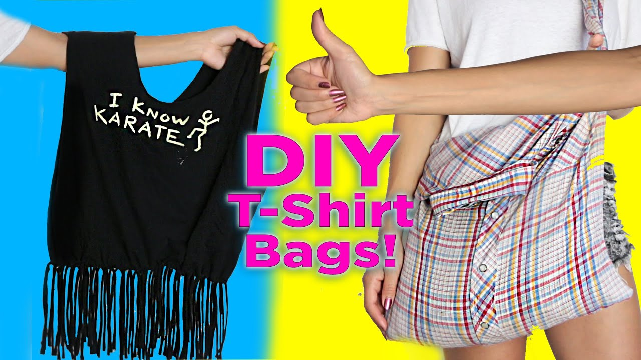 17019b5a259 DIY T-Shirt Bag   No Sew   2 DIY T Shirt Tote Bags   Easy DIY - YouTube