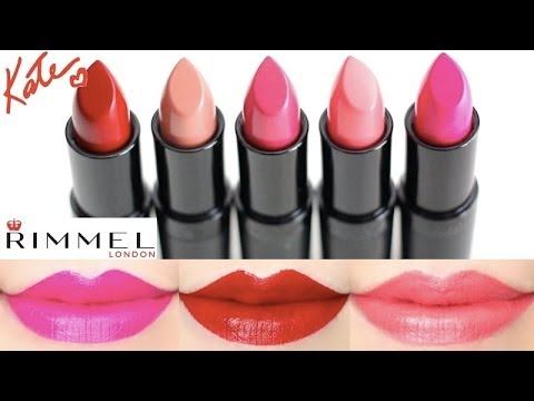 Rimmel Kate Moss Lasting Finish Lipstick Swatches on Lips 5 colors ...
