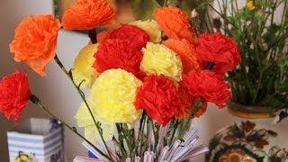Как сделать объемные гвоздики из салфеток своими руками(как сделать гвоздики из бумаги - мой способ, получаются очень красивые и необычные цветы. Смотрите мое видео..., 2014-06-18T19:39:40.000Z)