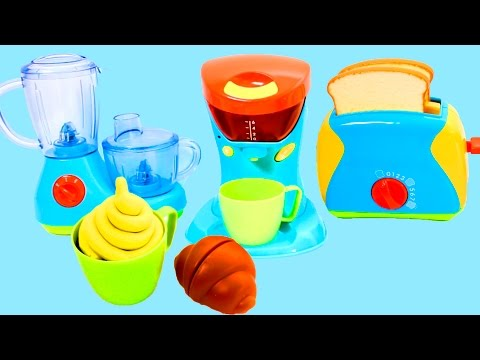 Cooking Playset Just Like Home Kitchen Appliance Set Toaster, Blender, Mixer & Coffee Machine