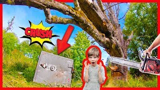 CRUSHING OPEN SECRET ABANDONED SAFE with GiANT TREE!