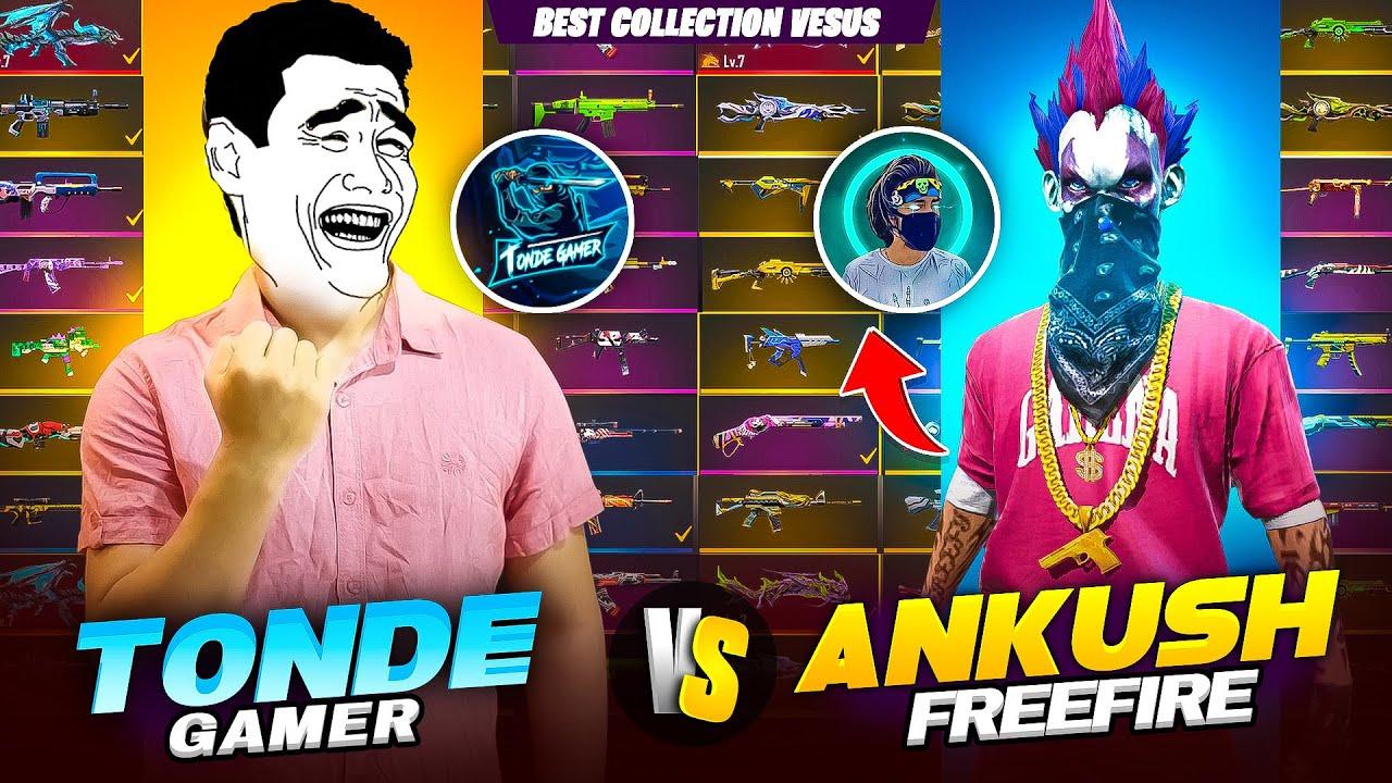 Ankush FF Vs Tonde Gamer Most Rare Gun Collection Battle - I challenged @ANKUSH FF for 1 Vs 1