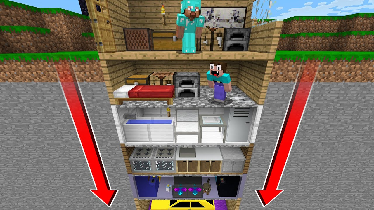 NOOB BUILD a SKYSCAPER UNDER the HOUSE of PRO! in Minecraft Noob vs Pro