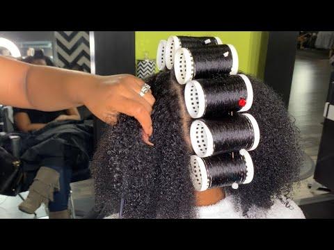 BEAUTIFUL NATURAL HAIR / ROLLER SET!!