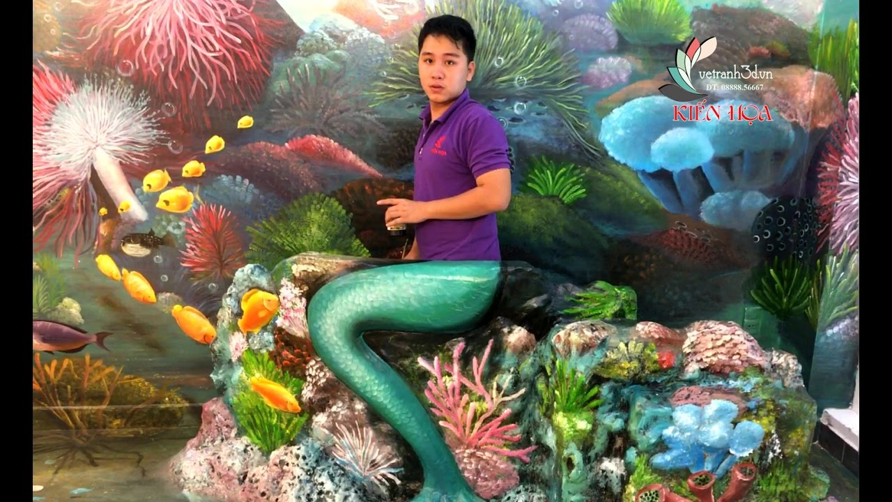 Vẽ Tranh 3D – Vẽ tiên cá 3d tại TP. Bạc Liêu