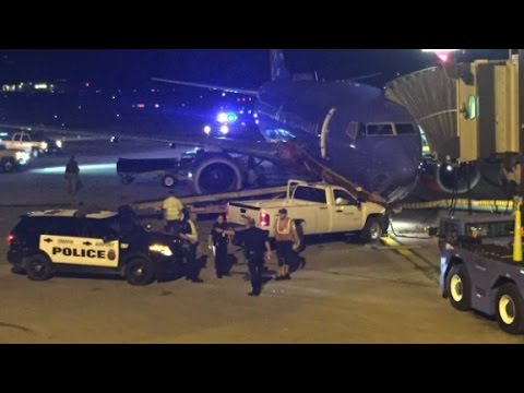 Man crashes truck into plane at Omaha Airport