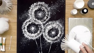 'Toilet Paper Rolls' Dandelion Q Tip Painting Technique /  Easy Creative Art
