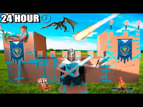 24 HOUR CASTLE BOX FORT CHALLENGE!!  Sword Fighting, Archery & More!!!