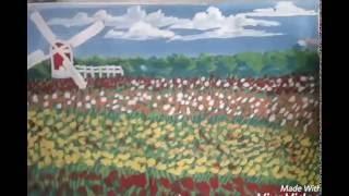 كيف ترسم بستان زهور وطاحونة بالالوان المائية how to draw Flowers orchard and mill by water colour
