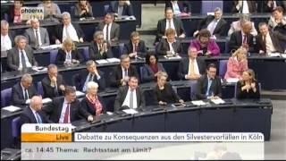 Wolfgang Bosbach, zu Köln Silvester, Bundestag, 13.01. 2016