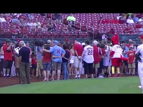 Jay Davis Day Busch-Ben, Coop, Jessica Davis First Pitch 6-19-2013