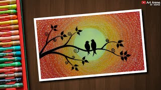 Easy Love Birds Drawing for beginners with Oil Pastels - step by step